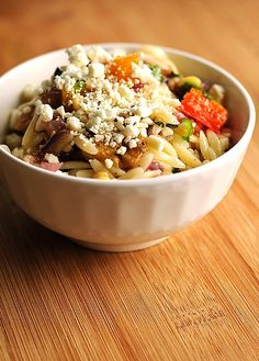 Roasted Vegetable Orzo. Simply scrumptious. shewearsmanyhats.com