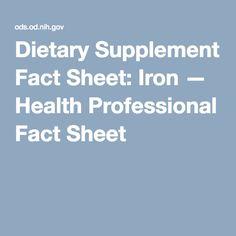 Dietary Supplement Fact Sheet: Iron — Health Professional Fact Sheet