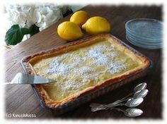 My favorite lemon pie (recipe only in Finnish) Nopea sitruunatorttu Baking Recipes, Cake Recipes, Dessert Recipes, Lemon Pie Recipe, Finnish Recipes, Delicious Desserts, Yummy Food, Sweet Pastries, Sweet Pie
