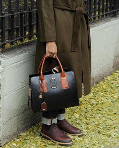 Joel Moore wearing our Marc Jacobs Fall '17 Big Shot Bag