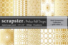 I just released Mod Geometrics: Gold and White on Creative Market.