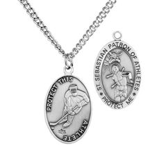 76f6c2a9985 Mens Sterling Silver Oval Saint Sebastian Ice Hockey Medal 24 Inch Rhodium  Plated Chain and Clasp