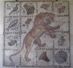 A Striding Lion surrounded by baskets of fruits, fishes and birds - mosaic floor from Antioch - now at Museum of Fine Arts, Baltimore