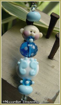 New Baby Boy Lampwork Bead Set by moonrakerbeads on Etsy