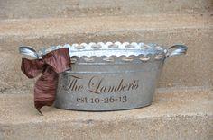 Personalized Beverage Tub/ Drink Tub/ Party Tub/ Family Name/ Wedding Tub/ Galvanized Metal on Etsy, $32.00