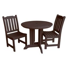 Outdoor Highwood Lehigh Recycled Plastic 3 Piece Round Patio Bistro Set - AD-DNL36-ACE