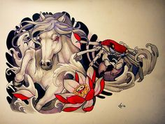 Tattoo design - Horse and crab (commission) by Xenija88.deviantart.com