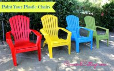 Go a little wild with color & bring out your plastic chairs' prettiness potential. Painting Plastic Furniture, Plastic Patio Furniture, Painted Outdoor Furniture, Lawn Furniture, Painted Chairs, Outdoor Plastic Chairs, Plastic Adirondack Chairs, Spray Paint Plastic, Rustoleum Spray Paint Colors