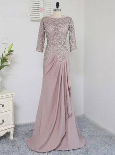 Plus Size Brown Mother Of The Bride Dresses A-line Sleeves Chiffon Lace Wedding Party Dress Mother Dresses For Wedding Kebaya Modern Dress, Kebaya Dress, Dress Pesta, Kebaya Lace, Dress Brokat Modern, Kebaya Hijab, Kebaya Brokat, Hijab Dress Party, Hijab Gown