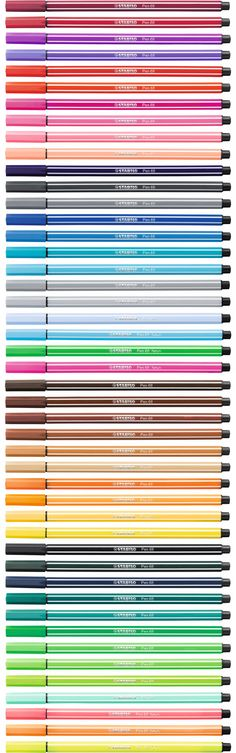 STABILO Pen 68 is a premium felt-tip pen that comes with a robust M-tip in 47 brilliant colors, including 6 fluorescent shades. Stabilo Pen 68, Stabilo Boss, Stationary Store, Cute Stationary, Stationary School, Pens And Pencils, Study Inspiration, Pen And Paper, Copics