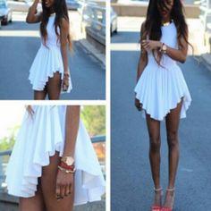 Sexy Sleeveless Assymetrical Pleated  Mini Dress - Daisy Dress For Less - 1