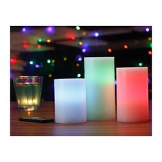 ARTIDES: SET 3 VELAS LED COLORES CON MANDO Batería de alta duración Luz Variable