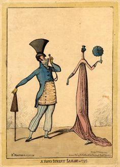 Richard Newton.Satire on fashion: a man with a huge hat viewing through a monocle a woman of extreme thinness.  28 July 1797  British Museum