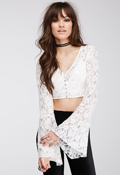 Lace Bell Sleeve Top | FOREVER21 - 2049257696
