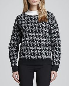 Theory Juneau Houndstooth Knit Sweater