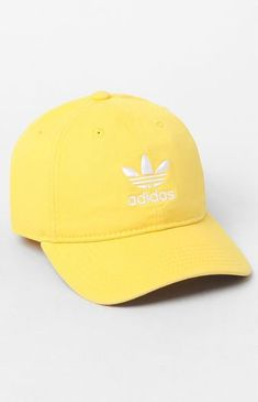 89a32c0f92c Give your casual style an upgrade with the adidas Relaxed Yellow Strapback Dad  Hat. This