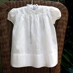 Vintage Baby Dress White Embroidered Entredeux Ribbed Pima Cotton 1960's Nannette, image 1