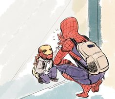 Spiderman and Peter Parker as a kid