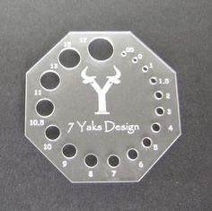 Octagon Shaped Knitting Needle Gauge. In U.S and Metric