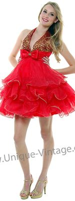 Red And Gold Sequin Tulle Ruffle Halter Bow Prom Dress - XS to 2XL
