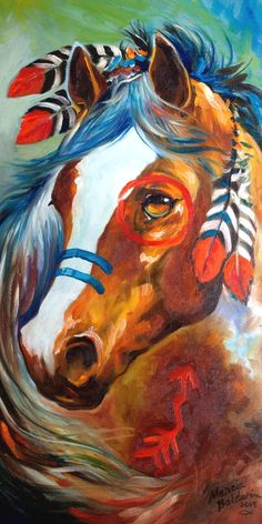 Indian war horse blaze an original oil painting by marcia baldwin. Native American Horses, Native American Paintings, American Indians, Indian Horses, Painted Pony, Horse Drawings, Southwest Art, American Indian Art, American War