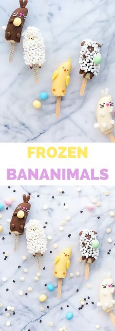 """Make these cute Easter Spring Frozen Banana Animals or """"Bananimals"""" for kids as a cute Easter spring snack, treat or dessert. #easterfood #easterdessert #kidsfood #cutefoodforkids #cutefood #eastertreat"""