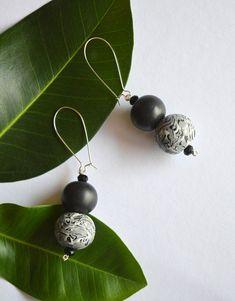 Black statement earrings Long beaded earrings Handmade polymer