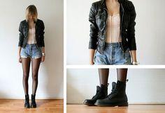 Peace of mind. (by Sietske L) ASOS Corset, Leather Jacket, Levi's Vintage Shorts, Dr Martens Boots