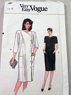 Very Easy Vogue 8637 80s Dress sewing pattern by retroactivefuture, $4.50