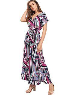 48f7ac8eaa0c Milumia Women's Boho Deep V Neck Floral Chiffon Wrap Split Long Dress at Amazon  Women's Clothing store: