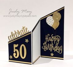 Stampin' Up! Tri-Fold Milestone Birthday Card – Judy May, Just Judy Designs Stampin & # Above! Triple Milestone Birthday Card – Judy May, Just Judy Designs 90th Birthday Cards, Birthday Cards For Men, Handmade Birthday Cards, Birthday Greetings, Birthday Ideas, Birthday Cake, Greeting Cards Birthday, Cards For Men Handmade, Special Birthday Cards
