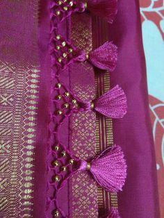 Gonde for saree Saree Jacket Designs, Saree Tassels Designs, Saree Kuchu Designs, Pattu Saree Blouse Designs, Bridal Blouse Designs, Saree Jackets, Trendy Sarees, Clothes Crafts, Saree Dress