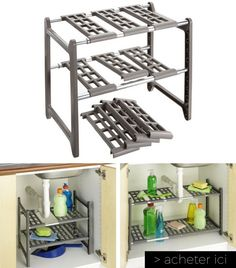 Extensible and adjustable shelf under sink Under Kitchen Sink Organization, Under Kitchen Sinks, Dresser Drawer Organization, Kitchen Larder, Kitchen Pantry Storage, Kitchen Rack, Home Organization, Kitchen Decor, Diy Deco Rangement