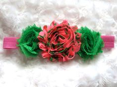 Hot Pink & Green Stars Fun Shabby Chic Flower by BandsForBabes, $6.00