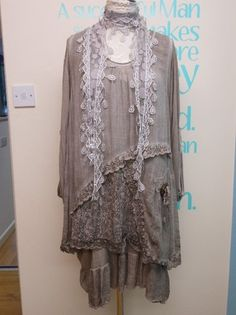 PLUS SIZE LAGENLOOK LAYERING LACEY TUNIC DRESS AND MATCHING TOP FITS UK 18-24   eBay