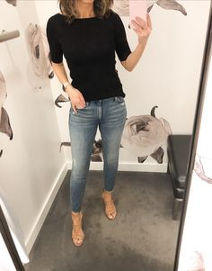 Fitting Room Snapshots (Ribbed short sleeve sweater, nude sandals) Source by fashion dresses Summer Work Outfits, Casual Work Outfits, Work Attire, Mode Outfits, Work Casual, Fall Outfits, Fashion Outfits, Casual Office, Office Attire