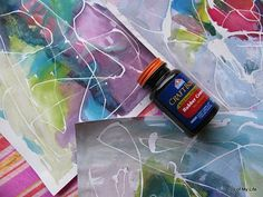 Rubber cement resist art - I love this idea, I did resist art with tape in a multi-arts class I used to teach, but I think Rubber Cement would work much better since it is easier to remove!