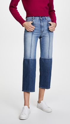 Stella McCartney The High Waist Two Tone Jeans | 15% off 1st app order use code: 15FORYOU