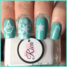 Nail polish is Azature Jade and stamping plate used is by Bunny Nails www.bunnynails.ecrater.com and polish used for stamping is Rica Polish: Whiteout. Top coat is Dream Polish: Gem Glam