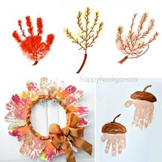 fall leaf and acorn handprints