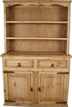 Antique Pine Hutch Buffet Cabinet 2 Pieces