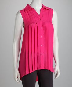 Take a look at this Fuchsia Pleated Button-Up Sleeveless Top by Star Vixen on #zulily today!