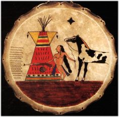 native american painted hides | Hand painted Limited Edition RUDE AWAKENING drums Native American ...
