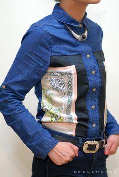 DIY Scarf Denim Shirt // SWAG