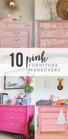 10 Pink Painted Furniture Makeovers, Pink Furniture, Pink Dressers, Pink Paint Colors. Click the Image to See the Full List!