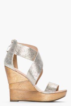 Diane Von Furstenberg Silver Speckled Opal Wedge Sandals
