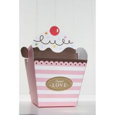 Caja con Forma de Cupcake en Rosa - CARULA DECORA TU FIESTA
