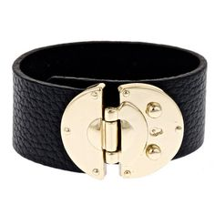 Black leather cuff bracelet with oversized buckle closure.    Product: BraceletConstruction Material: Leather, zi...