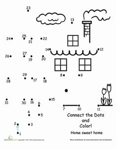 First Grade Places Counting Dot-to-Dots Worksheets: Connect the Dots: Home