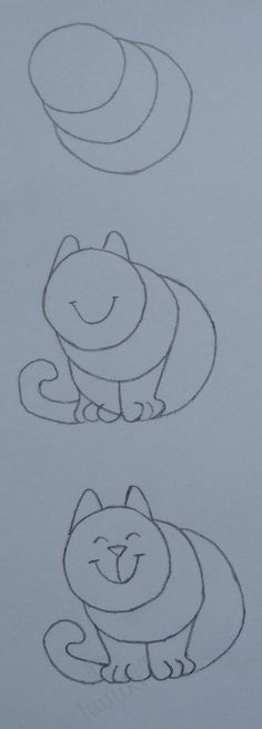 Kids art. Elementary drawing lessons - the drawings of cats - draw animals @ luntiks.com